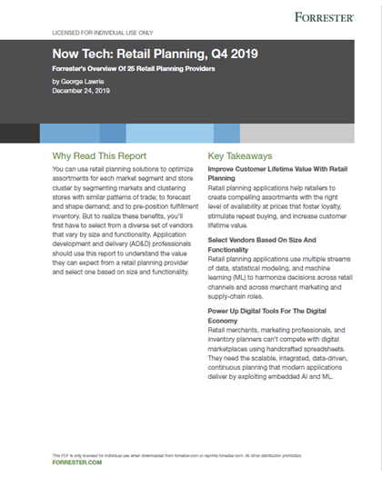 FORRESTER Now Tech_ Retail Planning, Q4 2019 Available thru Jun 2020